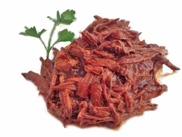 A close up of food, with Shredded beef