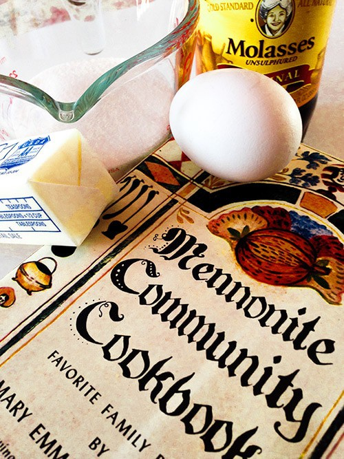 Mennonite Community Cookbook, surrounded by a stick of butter, some sugar, and a jar of dark molasses.