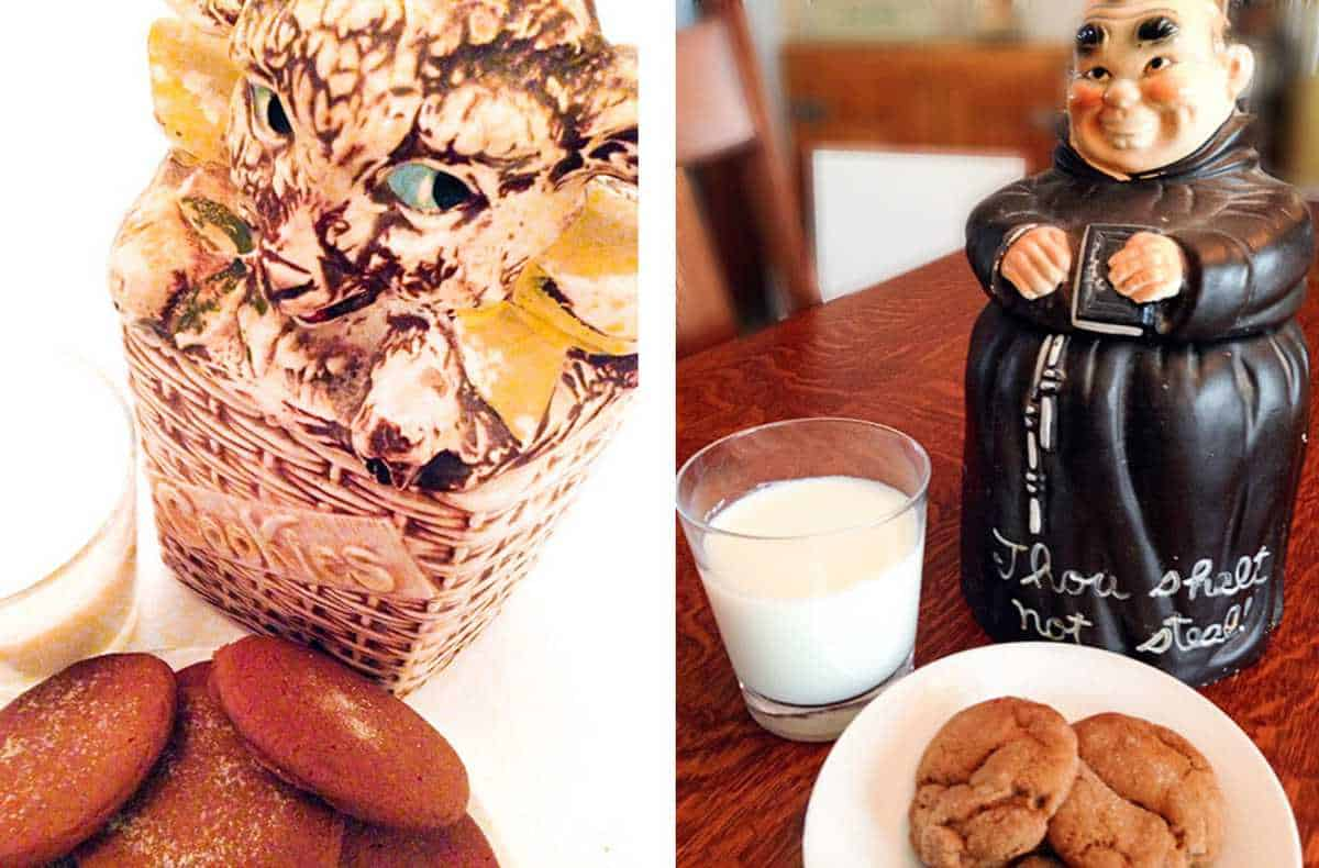 Old cookie jars with a plate of molasses cookies and a glass of milk.
