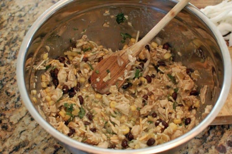 A bowl of ingredients for Enchilada and Chicken