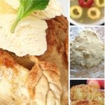 Apple dumpling with ice cream and process photo of making the recipe.