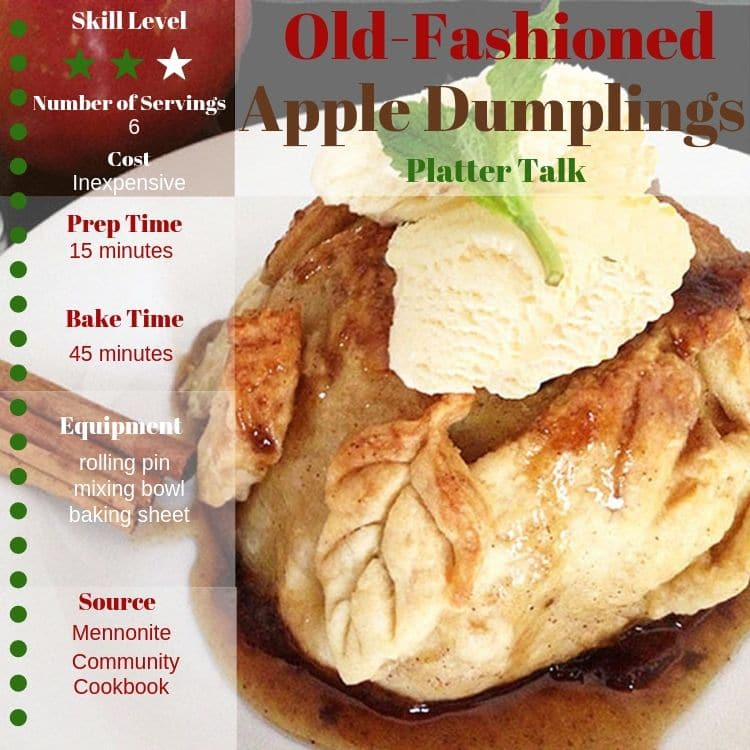 Information and photo of apple dumpling recipe.