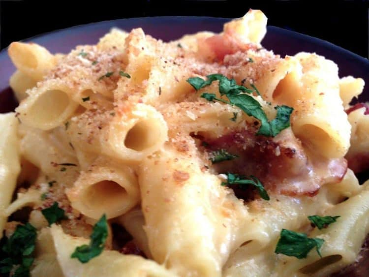 pasta with breadcrumb topping.