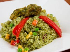 A plate of food with Rice and Chicken