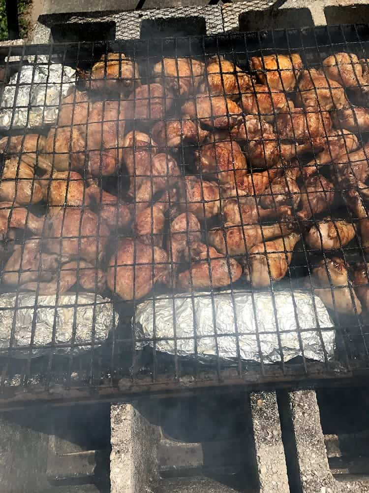 Cornell Chicken Barbecue, almost ready to eat.