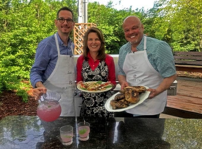 The Platter Talk guys on TV show making Cornell Chicken Barbecue.