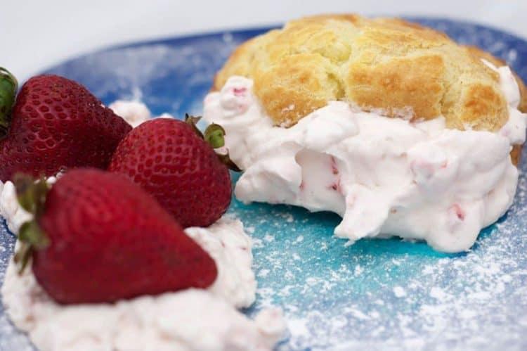 A closeup of a strawberry dessert