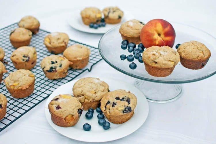 Muffins on a plate with a peach