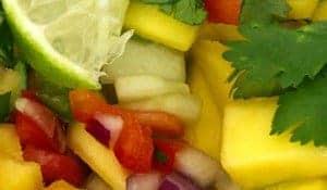 A close up of mango salsa