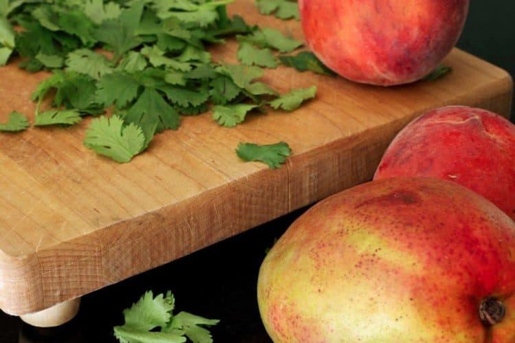Mango on a cutting board
