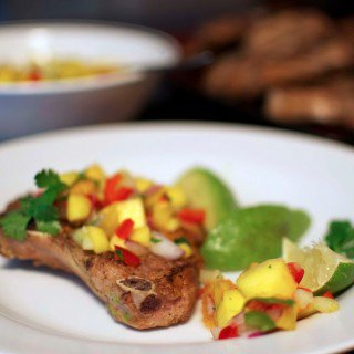 mango and peach salsa with oven baked pork