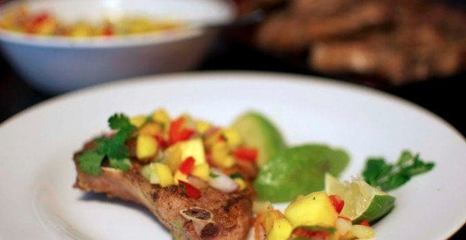 Mango and Peach Salsa + Oven-Baked Pork Chops