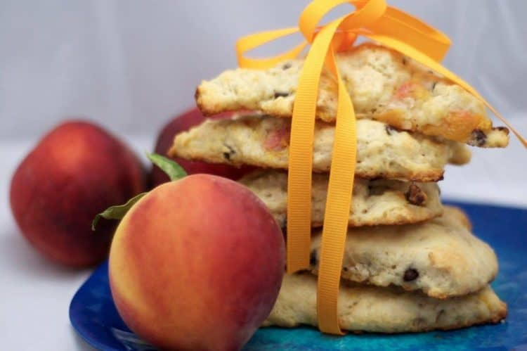 Food on a plate, with Scone and Peach