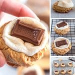 Photos of how to make s'mores cookies.