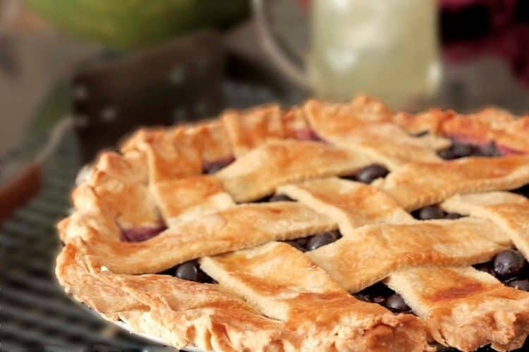 Close up of a blueberry pie