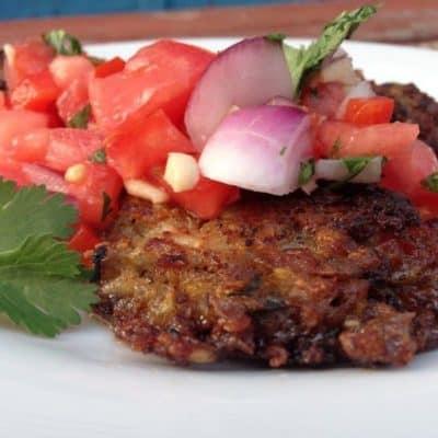 Lentil Rice Cakes + Tomato Salsa