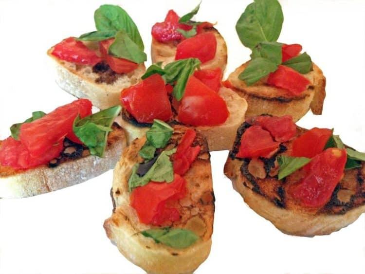 Bruschetta al Pomodoro (Garlic-Rubbed Toast with Fresh Tomatoes and Basil)  Recipe form Platter Talk