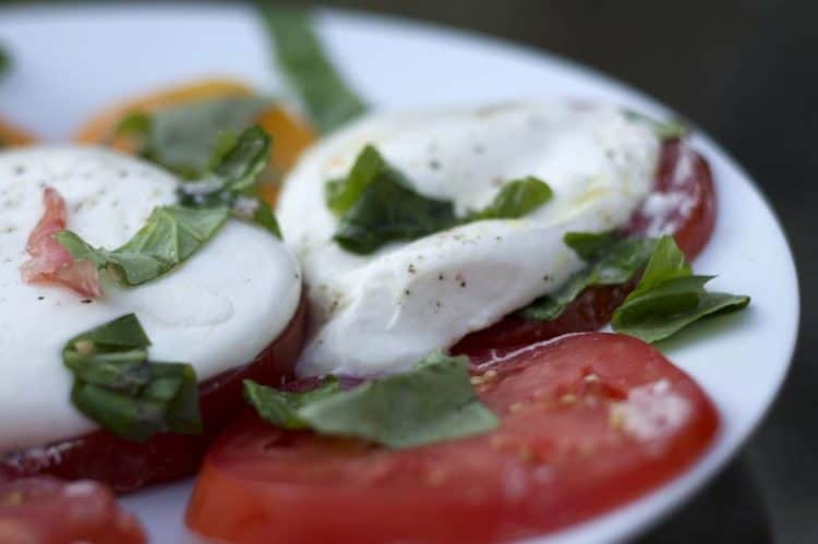 A plate of food, with Burrata and Caprese salad