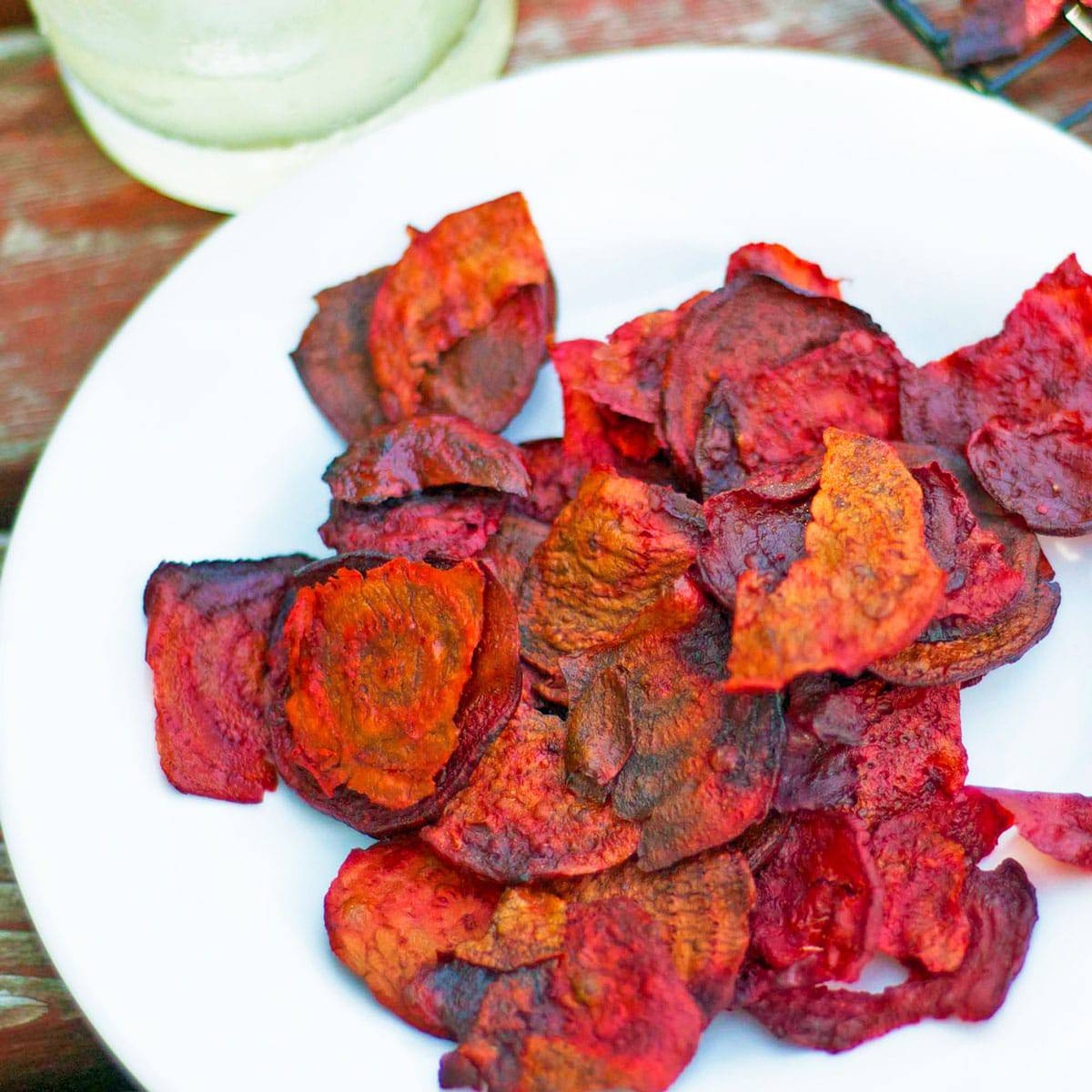 A plate of beet chips