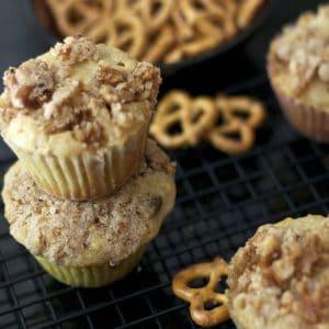 A close up of pretzel muffins.
