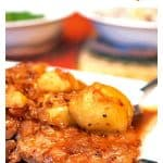 Pan-Seared Pork Chops from Platter Talk is a 20-minute pork chops recipe using thin cut pork chops and warm fall flavors for an inexpensive family meal.