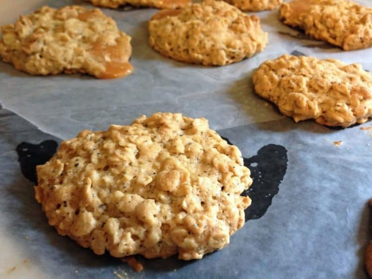 some cookies on parchment paper.