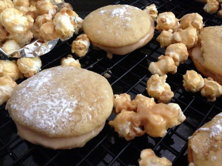 whoopie pies and caramel corn on a cooling rack