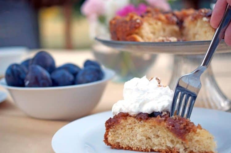 A piece of plum cake on a plate