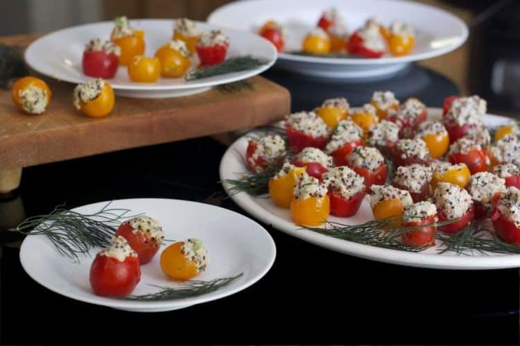 Quinoa and Goat Cheese Stuffed Cherry Tomatoes - Platter Talk