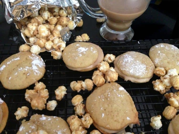 A close up of food, with Whoopie pie and Caramel corn