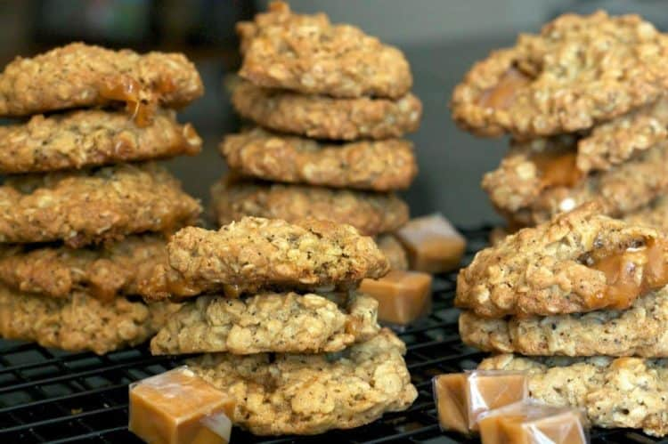 oatmeal cookies stacked high.