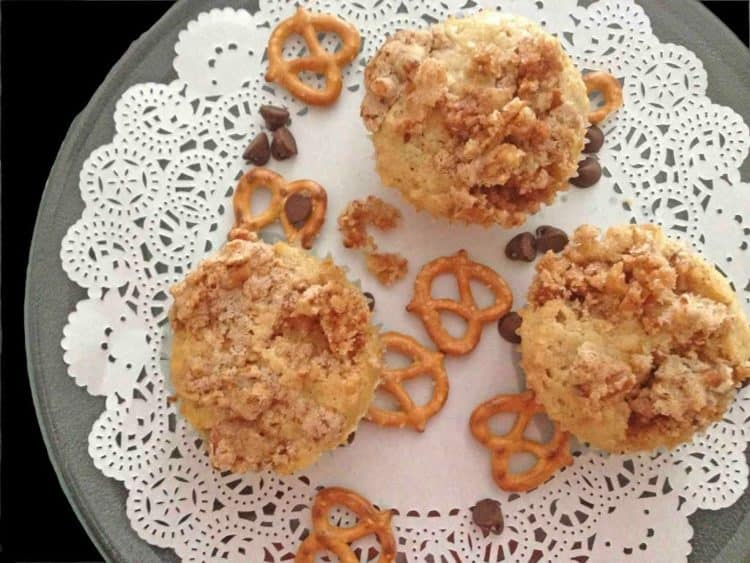 a plate of pretzel chocolate chip muffins