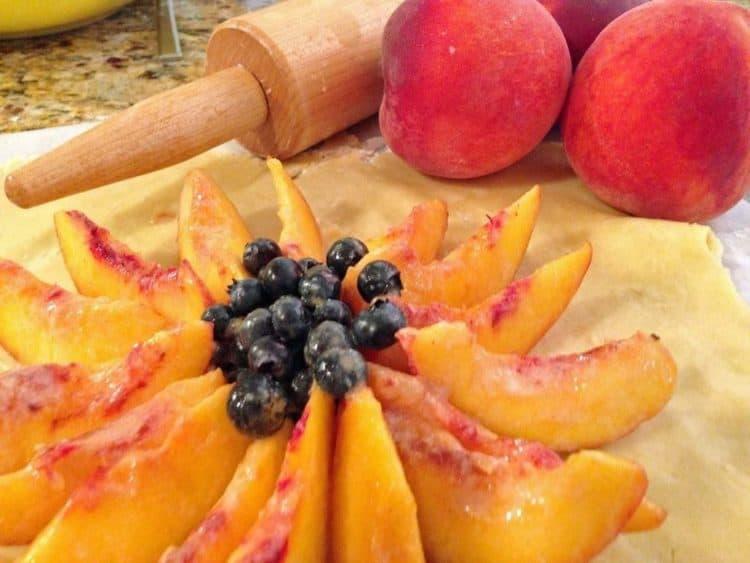 pieces of fruit in pie dough.