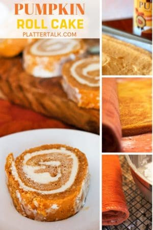 The steps to making a pumpkin roll and the finished pumpkin roll cake.