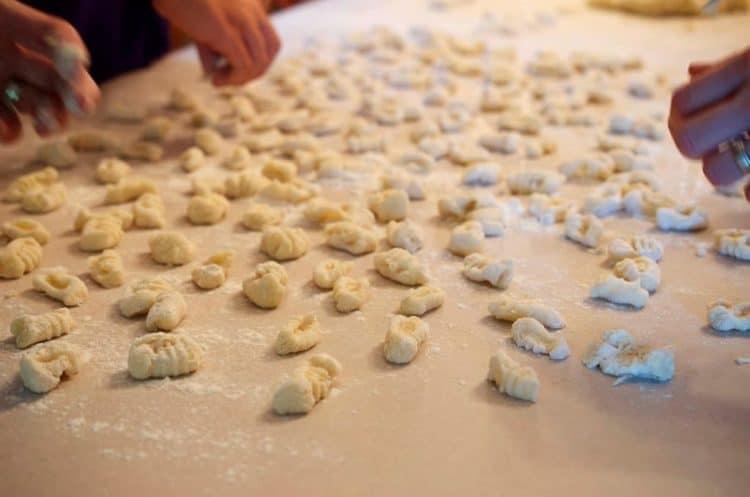 Gnocchi being formed.