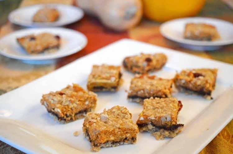 A plate of chocolate pumpkin cheese bars.