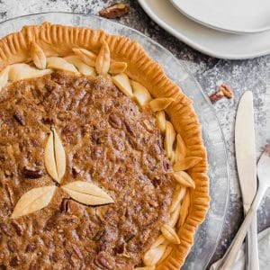 A homemade pecan pie.