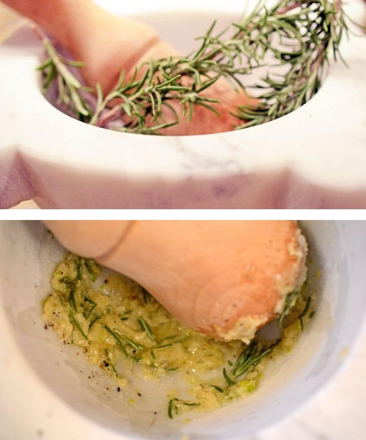 Rosemary and garlic in a mortar pestle
