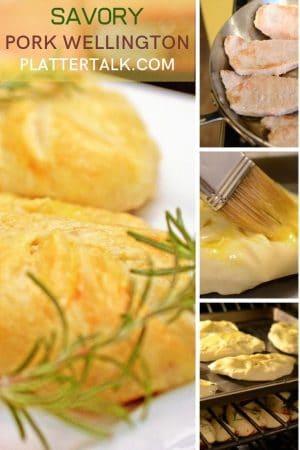 Process photos of making pork wellington