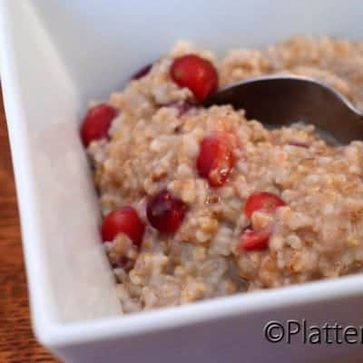 Steel Cut Oats with Fresh Cranberries