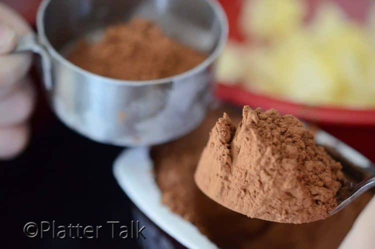a cup of cocoa powder