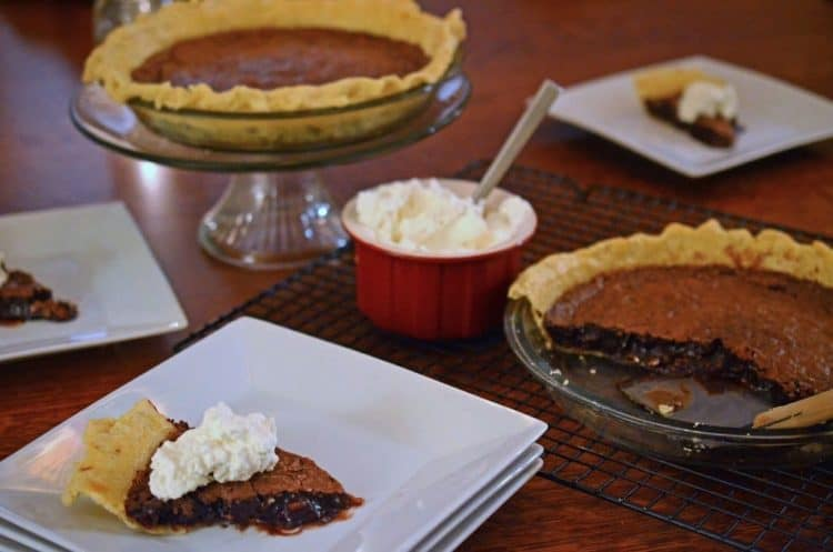 A plate of chocolate pie.