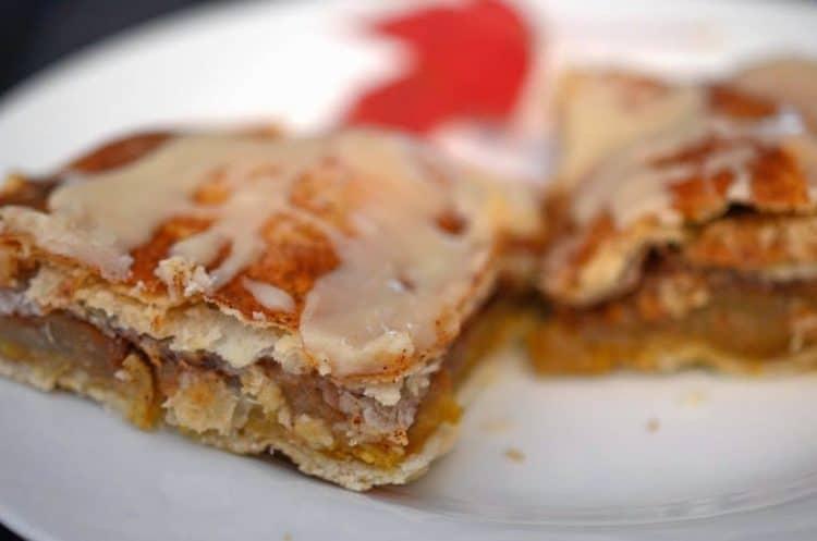 Cross cut close up apple bar servings on plate