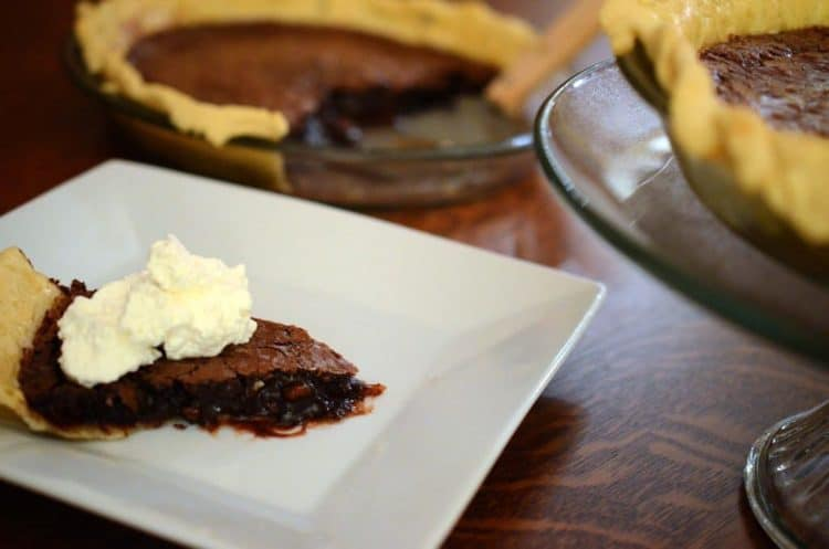 A close up of a plate of chocolate pie.