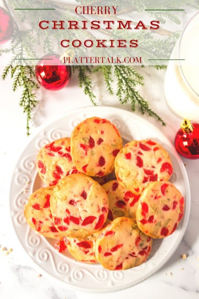 Plate of cherry Christmas cookies.