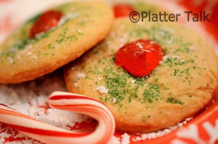 Cherry Red Nose Holiday Cookies fro Platter Talk