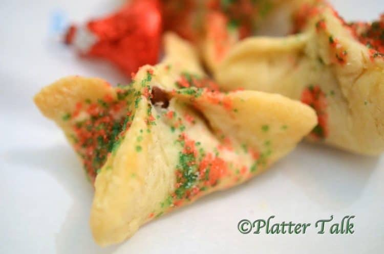 Christmas cookie wontons dusted in colored sugar.