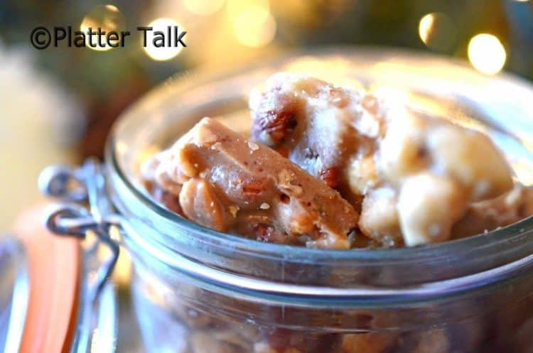 Mason jar containing peanut brittle.