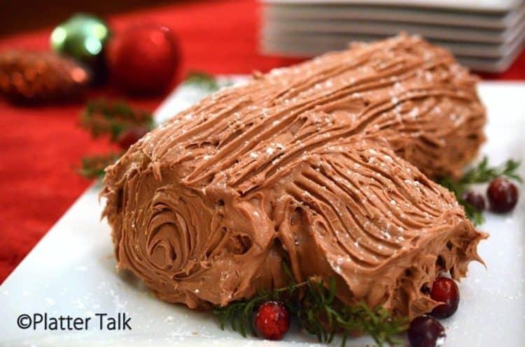 a yule log dessert on a platter.