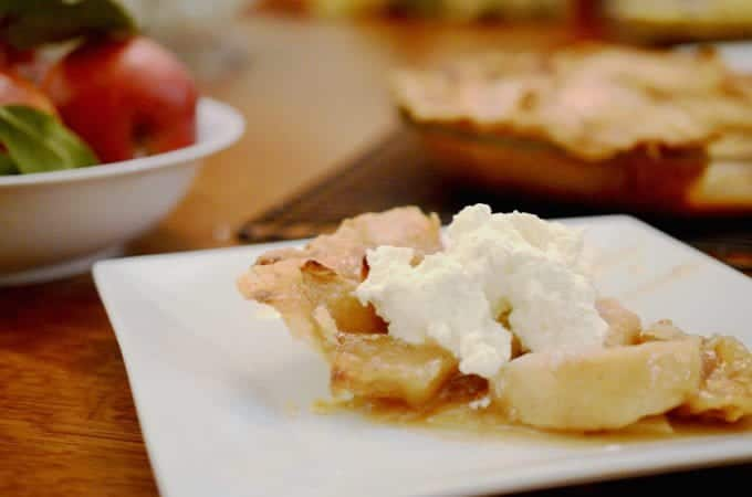 Dutch apple pie goes well vanilla ice cream.